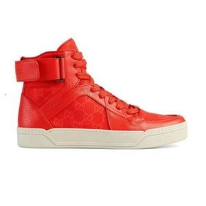 Gucci Red Leather / Nylon High Top Sneaker